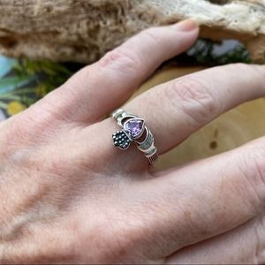 Sterling Silver Claddagh Pink Cz Ring Size 9